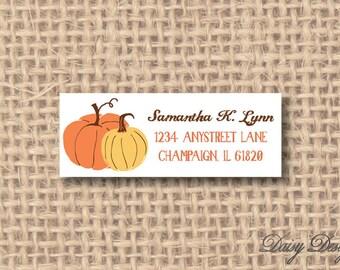 Return Address Labels - Autumn Pumpkins - 120 self-sticking labels
