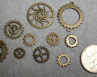 Steampunk gears, mix. 10pcs
