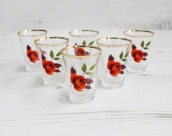Vintage flower shot glasses -  Gold Rose Wildlife  Glass Collectible Decor Barware Drinking Serving