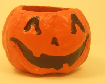 3 Mini Paper Mache Pumpkin JOL Halloween Containers Party or Craft Supply