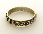 English vintage 9k gold and silver marcasite full eternity ring