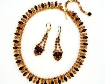 Vintage art deco purple paste rhinestone demi parure necklace and drop earrings