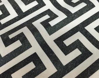 Metallic Black Geometric fabric by the yard