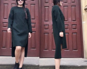 Ethnic Style Asymmetrical Double- Faced  Cashmere and Wool Long Coat Dress/ Winter Coat/12 Colors / RAMIES