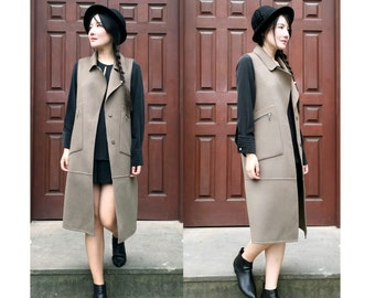 Military Style Winter/Duster/ Vest Coat/ Double- Faced Cashmere and Wool Blend Long Sleeveless Jacket /Winter Coat / 19 Colors