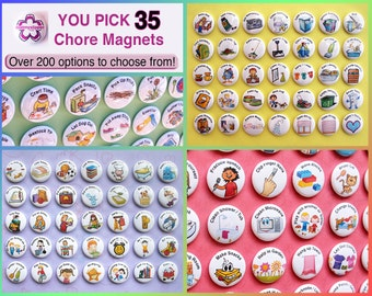 "YOU PICK 35 Chore Magnets. 1"" Kids Activities To To List. Round Refrigerator Buttons Badges Lot. You Choose Your Own Custom Set. (bv004)"