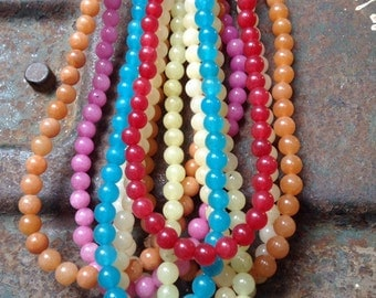 CUTE! Smooth Shiny Round 6mm Yellow Blue Red Pink Green Multi-Colored Dyed JADE Full Strand Beads Semi-Precious Gemstone. Wrap Bracelets!
