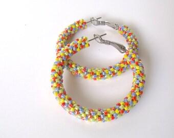 Beaded hoop earrings | glass beaded jewelry | multicolor hoop earrings | woven earrings | multicolor seed bead earrings