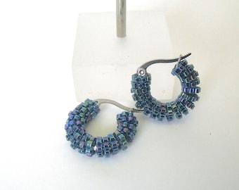 Small blue hoop earrings | woven glass beaded earrings | blue beaded jewelry