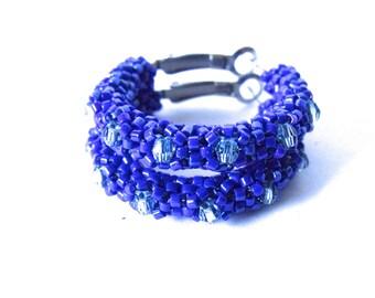 Cobalt blue hoop earrings | blue woven beaded earrings | glass beaded earrings | aqua and blue beaded jewelry | crystal beaded hoops