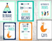 TRIBAL Baby Shower Decorations SIGNS  Teepee Arrow Fox Baby Shower - Boy Baby Shower - Fox Shower Instant Download - Set of 6 Signs
