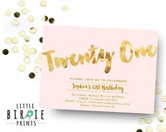 21st birthday invitation 21 Birthday invitation Gold and Pink Adult Birthday Invitation Gold Foil Blush and Gold twenty one 21 21st