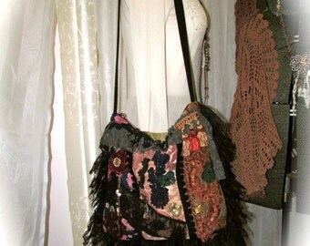 Boho Bag, handmade thick fabric bag, large bohemian shoulder bag, jacquard chenille denim fabrics, texture details embellished