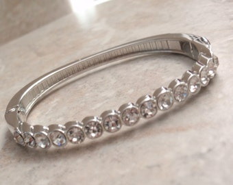 Rhinestone Bangle Bracelet Hinged White Gold Tone Vintage V0795