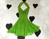 early 60s Oleg Cassini designer party dress 1960s lime green crepe draped godess silk chiffon fluttery short bow shawl dress size small xs