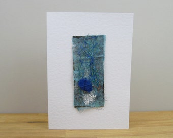 Seashore Art blank greeting card with cobalt blue sea glass