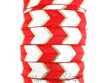 Red Arrow Fold Over Elastic 5/8 inch- Fold Over Elastic, Hair Elastic Bracelet, Elastic, Hair Elastic Tie, Elastic Ribbon, Elastic Hair Band