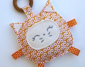 Marmalade the Kitty Cat, Baby Toy, Crinkle Toy, Organic Wood Teething Ring, Great Baby Gift