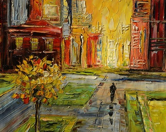 Painting oil ORIGINAL Painting Impasto Palette Knife Textured painting canvas painitng Cityscape Buildings colorful sunset ART by Marchella