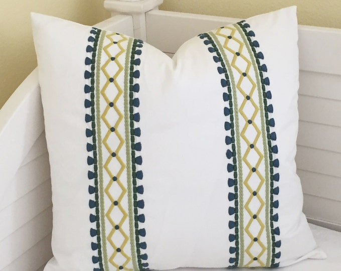 Robert Allen Madcap Cottage Viva Acapulco in Palm Designer Pillow Cover - Square, Euro, Lumbar and Body Pillow Sizes