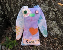 Bunny Art Doll, OOAK Original Design, Textile Mixed Media Art Doll, Colorful Hand painted printed fabrics, Unique, Rabbit Lover gift, FUN