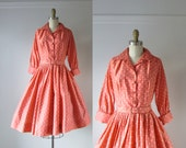 SALE vintage 1950s dress / 50s dress / Peachy Dots