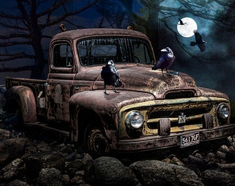Black Ravens with Old Vintage International Harvester Pickup Truck in the Moonlight No.16603 A Surreal Fantasy Photograph