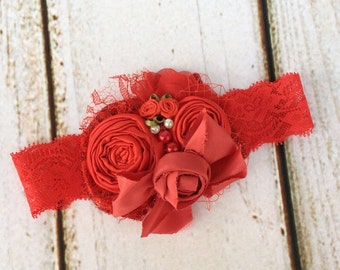 Red christmas bow headband lace headband cozette couture red bow