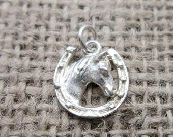 Vintage Sterling Silver Horse & Horseshoe Pendant or Charm