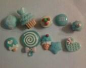 """Kawaii blue sweets cabochon decoden diy charm  """" 328 """"  10 pcs---USA seller"""