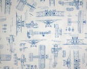 White with Blue Vintage Airplane Blueprints Print Pure Cotton Fabric--One Yard