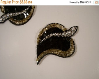 ON SALE Black Gold and Silver Leaf Motif Beaded Applique--One Piece