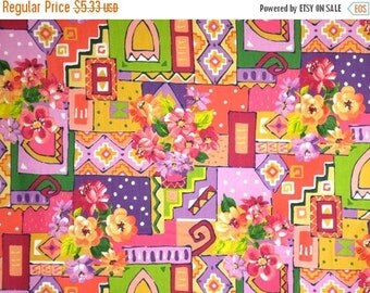ON SALE SPECIAL--Pink and Purple Cheerful Collage Floral Print Pure Cotton Fabric--One Yard