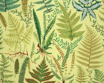 REMNANT--Fabulous Fern Print on YELLOW Pure Cotton Fabric--1/2 Yard