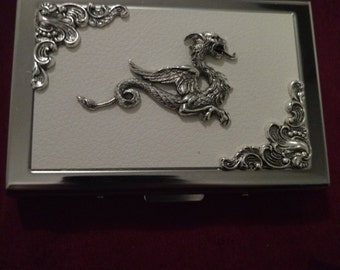 White Dragon Faux Leather Business card case