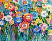 Polka Dot Garden Landscape Original Painting  18 x 24 Art by Elaine Cory