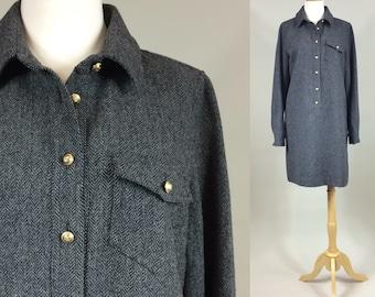 J. Crew Shift Dress / Vintage Classic Wool Shift / 1990s J. Crew Dress / Vinage 90s Wool Tweed Shift Dress / Vintage Dress