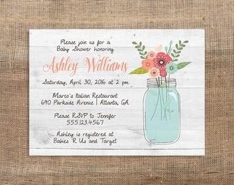 Mason Jar Baby Shower Invitation, Rustic Baby Shower, White Wood, Flowers, Digital Invite, DIY PRINTABLE
