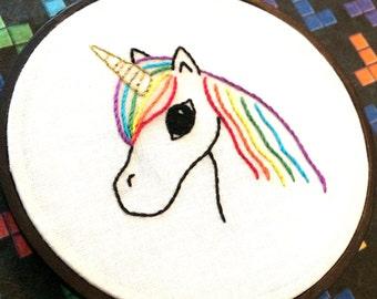 "Rainbow Unicorn - Original Art - Mini 4"" Hand Embroidery"