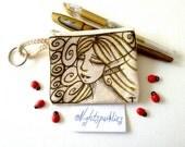 Hand drawn coin purse, tiny art purse, textile art purse, fairy art, fantasy art