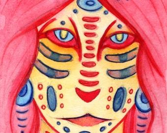 4x6 5x7 Fine Art Print, Fantasy Magical Mystical, Woodland Forest Creature, Mystic, Shaman, Wizard, Magician, Tribal Ethnic Symbolism