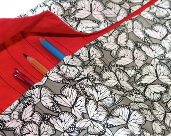 Deluxe Pencil or Crochet Hook Roll/Case - Black and White Butterflies with Red Contrast