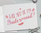 Will You Be My Bridesmaid Cards, 5.5 x 4.25 Inch (A2), Pink Watercolor, Wedding Cards, Bridal Party, Wedding Party, Best Friends, Wedding