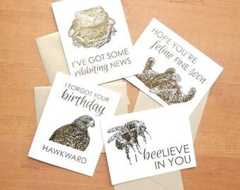 gold foil greeting card set: bee, beaver, frog, buck, possum, hawk, bear, cat, support, friendship, love, birthday, get well