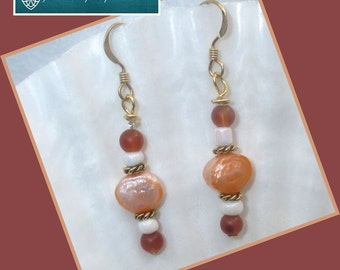 Peach Pearl Carnelian Earrings with Gold Filled Hooks, Gemstone Pearl Jewelry, Freshwater Pearl Earrings, Matching Bracelet Available