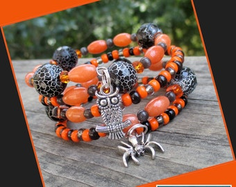 Halloween Black Orange Wrap Bracelet, Halloween Jewelry, Spider Owl Bracelet, Multistrand Statement Bracelet, Gemstone Snakeskin Pattern