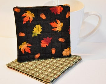 Fall Autumn Fabric Coasters Set of 4 Mug Rug World's smallest quilts