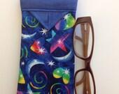 Stars, Hearts and Moons Snap Eyeglasses Case 3-1/4 X 6-1/2