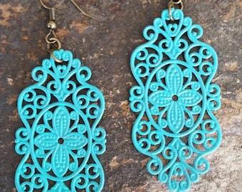 Vintage Inspired Patina Filigree Earrings