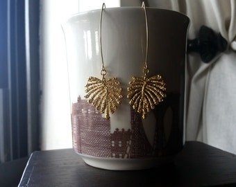 GOLDEN PALMS- Bumpy Textured Flower Palms Leaf Earrings